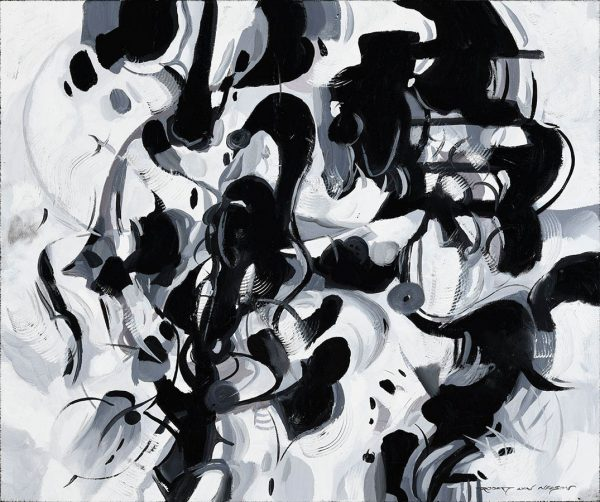 Black and White Affair abstract painting