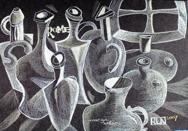 Bottles in Rome cubist painting