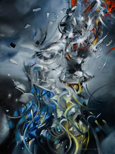 Charging abstract painting