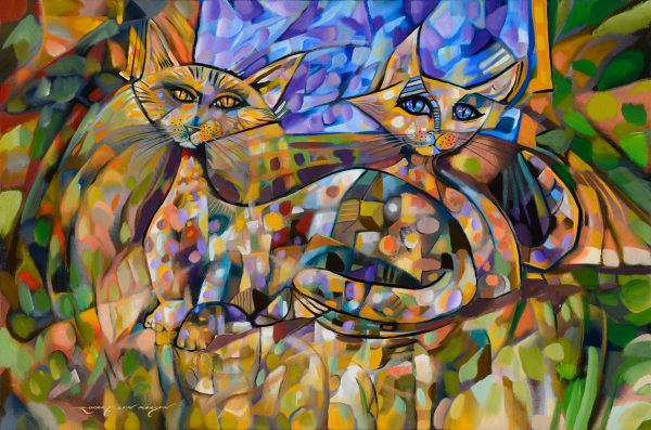Companionship cubist painting of cats