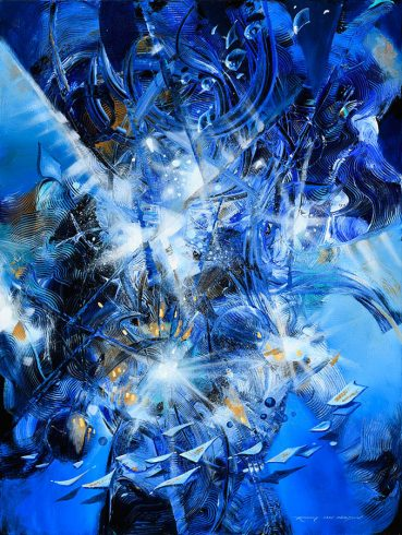 Radiant Blue Energy abstract painting