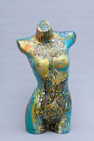Teal Woman painted figure sculpture